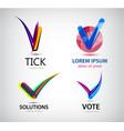 set tick logos vote logo solutions vector image