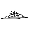 Sketch sun and clouds on a white background icon vector image vector image