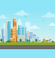 smart city and suburb panorama vector image
