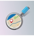 Stylized magnifying glass map for website vector image vector image