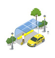 taxi cab stop isometric 3d icon vector image