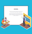 two students boy and girl sit at desk teacher vector image vector image