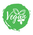 vegan label healthy and organic food font with vector image vector image