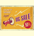vintage megaphone big sale poster with vector image vector image