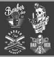 vintage monochrome barbershop labels vector image vector image
