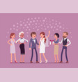 wedding ceremony newlywed and guests vector image
