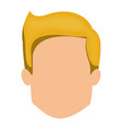 white background of faceless man with blonde hair vector image vector image