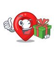 with gift map pointer navigation pin mascot vector image