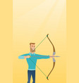 young caucasian archer training with a bow vector image