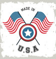 made in usa flag crossed with shield star emblem vector image