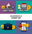 collection banner business and start up elements vector image