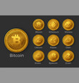 golden cryptocurrency coin icon sets vector image
