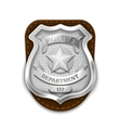 Silver steel police security badge isolated on vector image