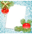 ball and candle christmas postcard vector image