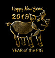 2019 zodiac gold pig happy new year 2019 chinese vector image