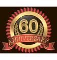 60 years anniversary golden label with ribbons vector image vector image