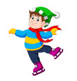 a boy is using the green hat and red shawl vector image