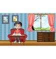 A boy writing inside the house vector image vector image