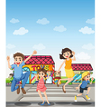 A pedestrian lane with a happy family