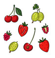 a set of different berries on a white background vector image vector image