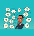 african man solves the problem questions and vector image vector image