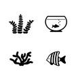 aquarium inhabitants simple related icons vector image vector image