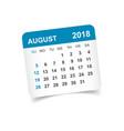 august 2018 calendar calendar sticker design vector image vector image