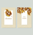 autumn leaves with white frame and gold glitter vector image vector image