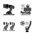 aviation services glyph icons set vector image vector image