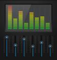black digital equalizer with blue slider buttons vector image vector image