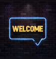 blue neon sign with welcome golden text on vector image vector image