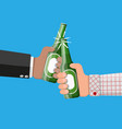 bottle of beer with glass beer alcohol drink vector image vector image