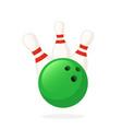 bowling ball knocks down pins vector image vector image