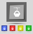 Cableway cabin icon sign on original five colored vector image vector image