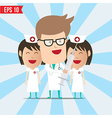Cartoon doctor and nurse smile and using syringe - vector image vector image