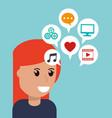 cartoon girl social media apps vector image vector image