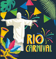 christ redeemer with party banner and fireworks vector image vector image