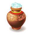 clay pot filled with rice isolated on white vector image