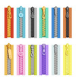colored zippers tools for clothes vector image