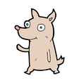 comic cartoon little dog waving vector image vector image
