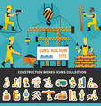 construction worker flat composition vector image vector image