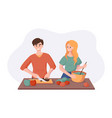 cooking healthy dinner together vegetables and vector image