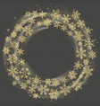 golden wreath of snowflakes celebration of vector image