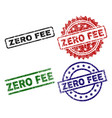 grunge textured zero fee seal stamps vector image vector image