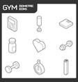 gym outline isometric icons vector image vector image