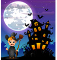 halloween night background with little boy witch h vector image