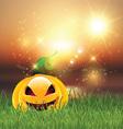 halloween pumpkin in grass 0109 vector image vector image