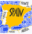 hand drawn stylized map spain travel spain vector image vector image