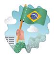 hand holding raising national flag brazil vector image vector image