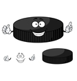 Happy cartoon hockey puck waving its hands vector image vector image